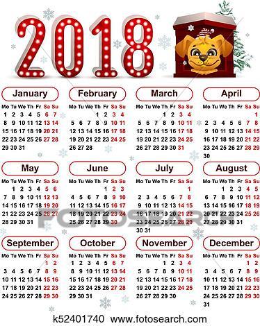 Anno Calendario Cinese.2018 Anno Di Cane Giallo In Calendario Cinese Clipart