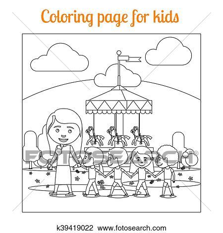 Clipart - colorido, página, para, niños, parque de atracciones ...