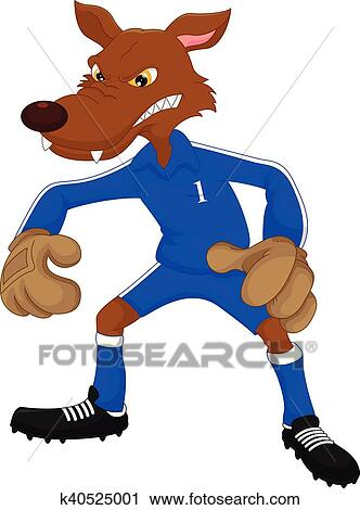 Fussball Wolf Karikatur Clipart K40525001 Fotosearch