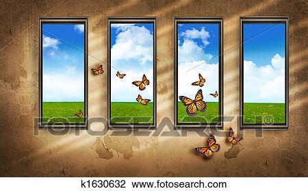 Clipart grungy donkere kamer met vensters en vlinder en