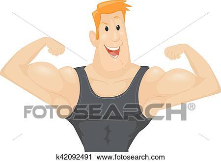 Clipart Homme Flechir Biceps Muscles K42092491 Recherchez Des