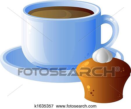 Clip Art Cake And Coffee : Clip Art of Cup of coffee and cake k1635357 - Search ...