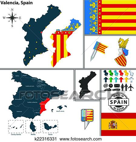 Valencia Map Of Spain.Map Of Valencia Spain Clipart