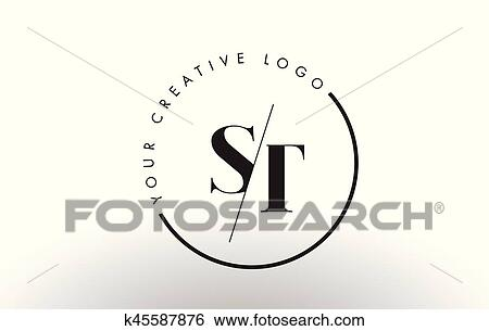 St Serif Letter Logo Design With Creative Intersected Cut