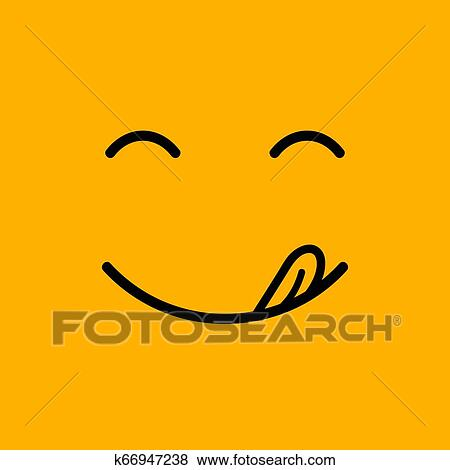 Yummy Smile Delicious Tasty Eating Emoji Face Eat With Mouth And Tongue Gourmet Enjoying Taste Clip Art