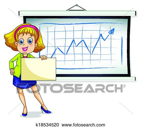 clipart of a lady holding an empty paper in front of the bulletin rh fotosearch com bulletin board borders clipart news bulletin board clipart