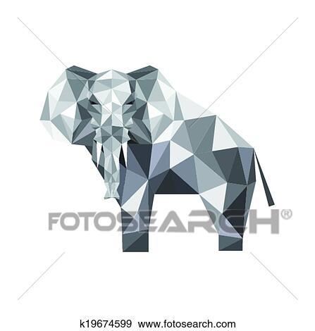 Clip Art Of Abstract Origami Elephant K19674599