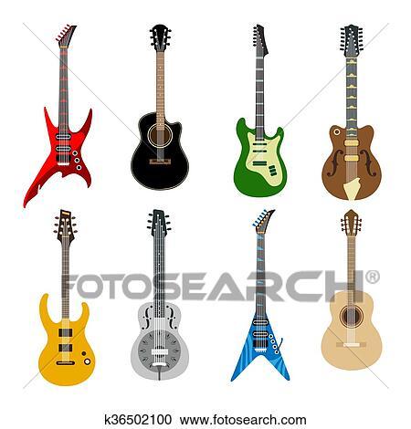 Clipart - acústico, y, guitarras eléctricas, iconos k36502100 ...