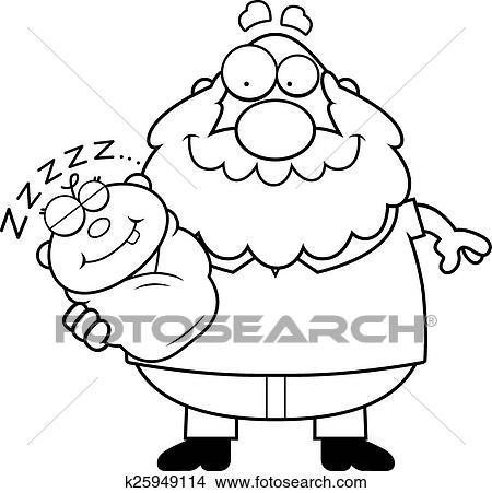 Cartoon Grandpa With Sleeping Baby Clipart