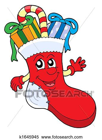 Stock Illustration Of Cute Christmas Sock With Gifts K1645945