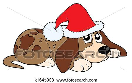 Stock Illustration Of Cute Dog In Christmas Cap K1645938 Search