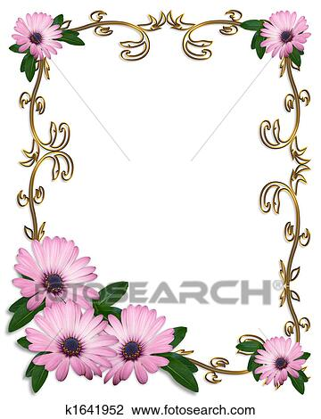 Daisy Border Wedding Invitation Drawing K1641952 Fotosearch