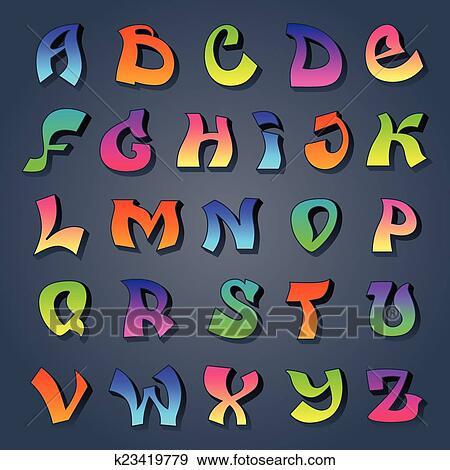 Clip Art Graffito Alfabeto Colorato K23419779 Cerca Clipart