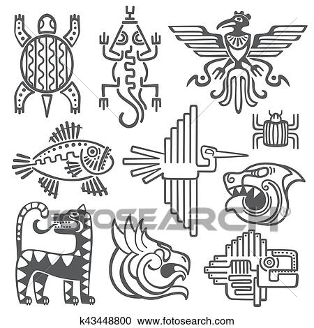 Clipart Of Historic Aztec Inca Vector Symbols Mayan Temple Pattern