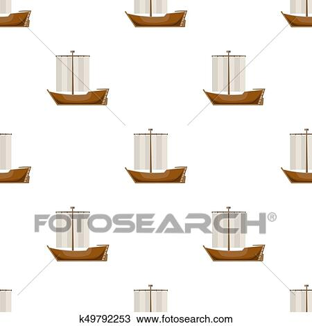 Sailboat  The boat sails from the wind  Water transport for skating   Transport single icon in cartoon style bitmap, raster symbol stock  illustration