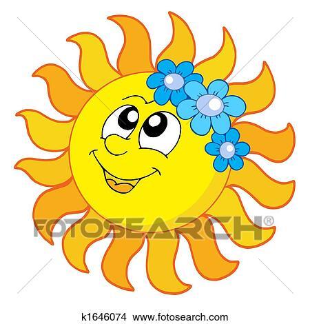 dibujos sol sonriente con flores k1646074 buscar clip art