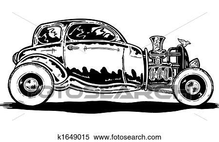 Stock Illustration Of Vintage Style Hotrod Car Illustration K1649015