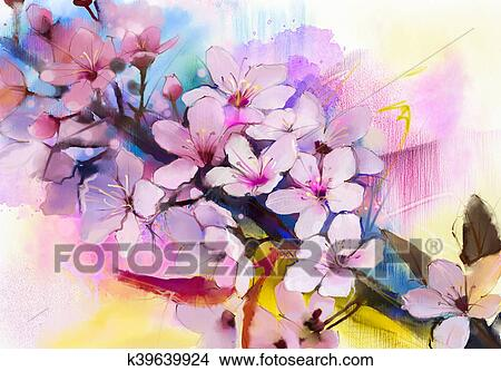 Drawings of watercolor painting cherry blossoms japanese cherry watercolor painting cherry blossoms japanese cherry pink sakura floral in soft color over blurred nature background spring flower seasonal nature mightylinksfo