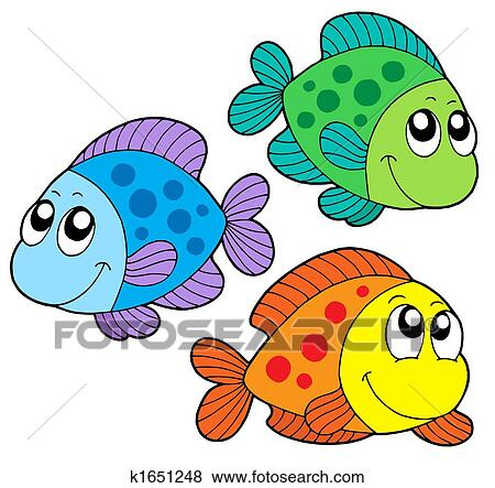 かわいい 色 魚 イラスト K1651248 Fotosearch