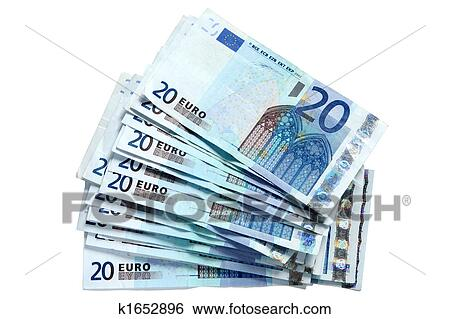 A Stack Of 20 Euro Currency Bank Notes Isolated On White Background
