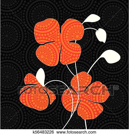 Aboriginal Dot Art Painting With Red Poppy Flowers Vector