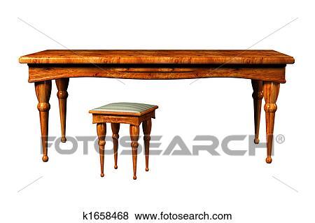 Antiker Tisch Und Hocker 3d Stock Illustration K1658468