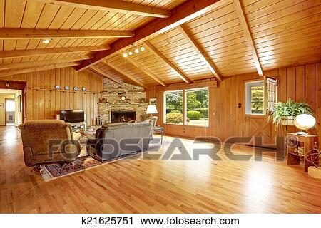 Stock Fotografie - blockhaus, haus, interior., wohnzimmer, mit ...
