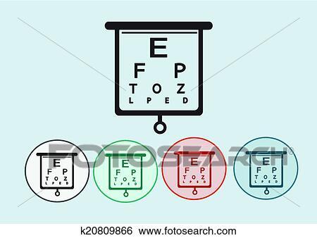 Clip Art Of Eye Chart Test Illustration K20809866 Search Clipart