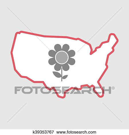 Clip Art Of Isolated Line Art Usa Map Icon With A Flower K39353767