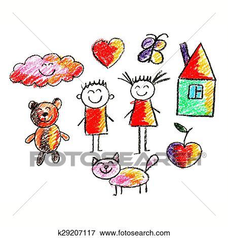 Jogo De Coloridos Criancas Desenho Estilo Quadros Arquivos