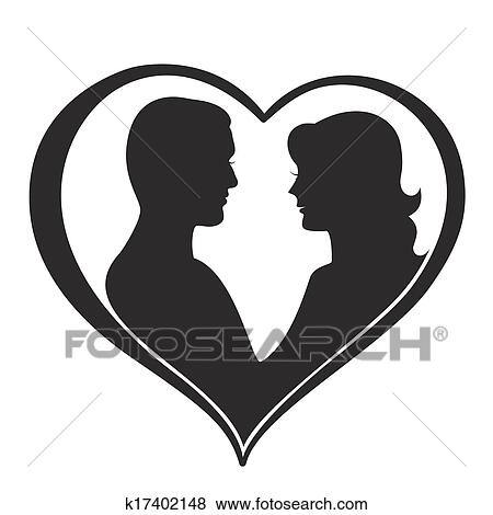 man and woman silhouette in heart shape clip art k17402148 fotosearch https www fotosearch com csp165 k17402148