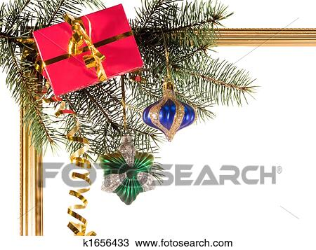 new year borders with fir tree on white background