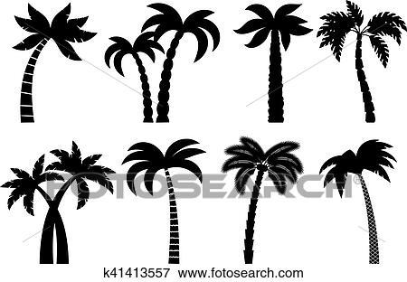 Clip Art - palme, schwarz, satz k41413557 - Suche Clipart, Poster ...