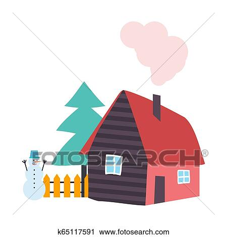 Tree Pine Growing By Wooden Cottage House Vector Clipart
