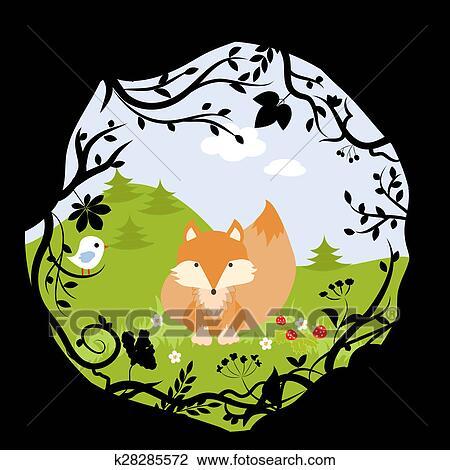 セット 森林 キツネ 鳥 野生 かわいい 自然 森 漫画 ベクトル