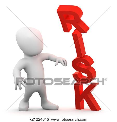 stock illustration of 3d little man is daunted by risk k21224645 rh fotosearch com risk taker clipart risk clipart free