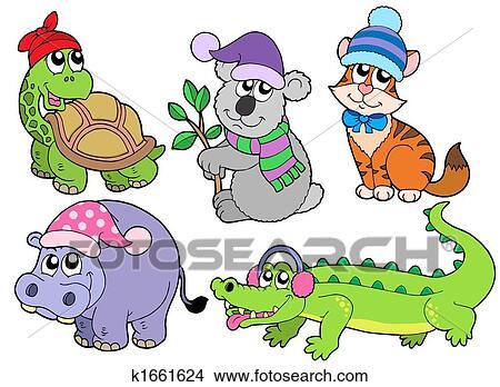 Disegni Animali In Vestiti Inverno Collezione 1 K1661624