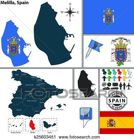 Clipart   carte, de, Melilla, espagne k25603451   Recherchez des