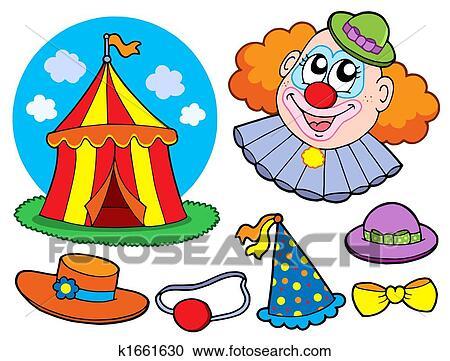 Stock Illustraties Circus Clown Verzameling K1661630 Zoek
