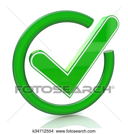 Green tick sign icon 3d  Glass check mark symbol Stock Illustration