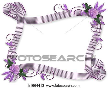 Invitation mariage fronti re lavande roses dessin k1664413 fotosearch - Dessin invitation ...