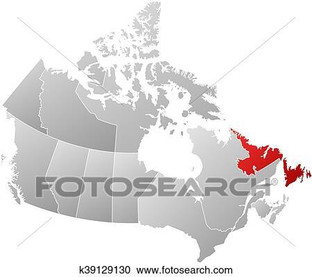 Map Of Canada Newfoundland.Map Canada Newfoundland And Labrador Clipart