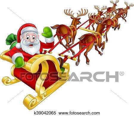 Santa Sleigh Stock Illustrations, Cliparts And Royalty Free Santa Sleigh  Vectors