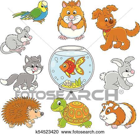 Clipart Set Di Animali Domestici K54523420 Cerca Clipart