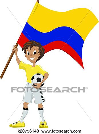 Happy soccer fan holds Colombian flag. Vector cartoon. k20756148 Foto  search Stock Photo Photograph Royalty Free e319c56d8