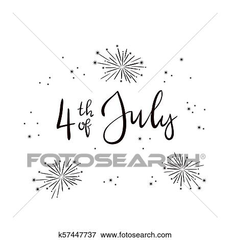 Clip Art Of Text 4th Of July And Fireworks On White Background