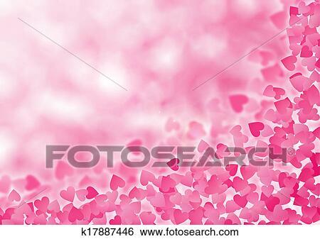 Valentine Hearts Abstract Pink Background St Valentines