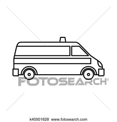 سيارة إسعاف سيارة ايقونة المختصر لقب Clip Art K40501628 Fotosearch