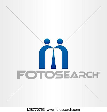 Clipart Of Blue Letter M People Business Icon K28770763 Search