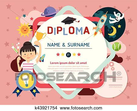 Certificate Kids Diploma, Kindergarten Template Layout Space Background Frame  Design Vector. Education Preschool Concept Flat Art Style